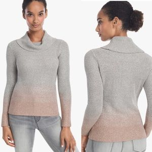 WHBM Silver & Tan Ombré Cowl Neck Sweater XS